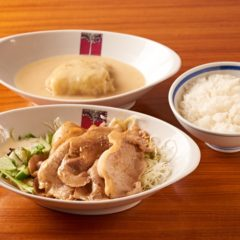 豚ロースのオイル焼きとロールキャベツシチュー¥1440税込